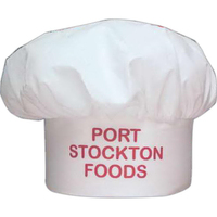 White Muslin Chef Hat with Hook and Loop Back