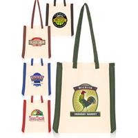 """14.75"""" W x 16"""" H Side Stripes Cotton Tote Bag"""
