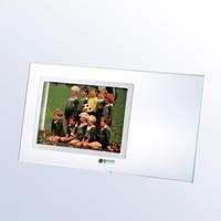 Starfire Clear Glass Horizontal Photo Frame w/ Silver Pole