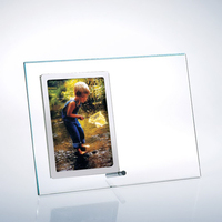 Starfire Clear Glass Vertical Photo Frame w/ Silver Pole