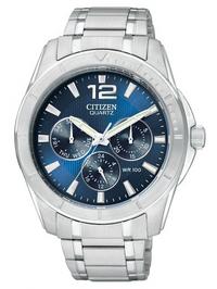 Citizen Quartz Mens Blue Chronograph Dial Stainless Silver B