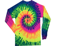 Long Sleeve Rainbow Tee - Neon Rainbow