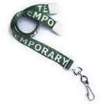 """5/8"""" Pre-Printed """"Temporary"""" Lanyard with Swivel Hook"""