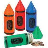 "6"" Crayon Shaped Banks with Stock ""Savings Bank"""