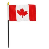 "Canada Flag With Wooden Pole 4""x 6"" - Logo Imprint On Pole"