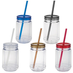 16 oz. Double Wall Mason Jar with Straw - BPA Free