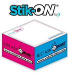 Stik-ON(R) - Adhesive Note Cubes - 3.875x3.875x1.9375-3 Colo