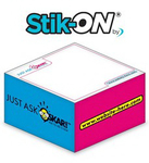 Stik-ON(R) - Adhesive Note Cubes - 3.375x3.375x1.6875-4 Colo