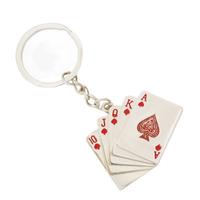 Metal Red Heart Royal Fush Casino Poker Cards Keychain