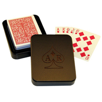 Wood Single Deck Playing Card Box with Cards