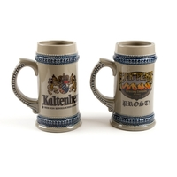 22 oz. Gray Beer Stein w/ Blue Trim