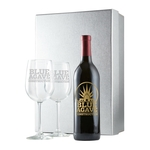 Etched Wine Bottle with Silver Gift Box & Two Etched Glasses