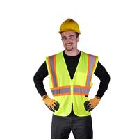 Class 2 Mesh Two Tone Zip Vest - Lime
