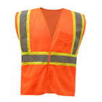 Class 2 Mesh Two Tone Hook & Loop Vest - Orange