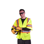 Class 3 Two Tone Hook & Loop Safety Vest - Lime