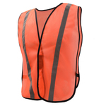NON ANSI Safety Vest with Elastic - Orange with Silver Tape