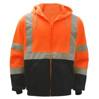 Class 3 Fleece Hooded Full Zip Safety Sweatshirt - Orange