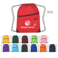 Hit Sports Pack With Front Zipper - Drawstring Bag Backpack