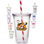 16 oz. Double Wall Acrylic Tumbler with Striped Straw