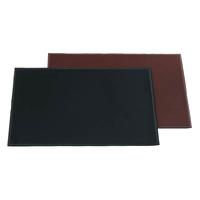 "Black 17"" x 12"" Rectangular Leatherette Placemat"