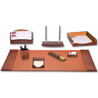 8-Piece Crocodile Embossed Leather Desk Set