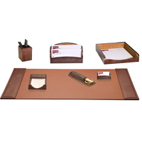 7-Piece Crocodile Embossed Leather Desk Set