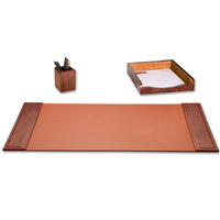 3-Piece Crocodile Embossed Leather Desk Set