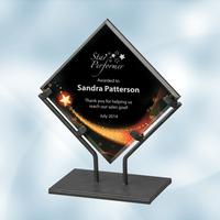 Star Galaxy Acrylic Plaque Award with Iron Stand - Medium