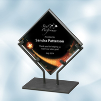 Star Galaxy Acrylic Plaque Award with Iron Stand - Large