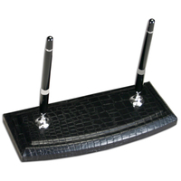 Crocodile Embossed Leather Double Pen Stand