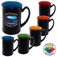 16oz Gloss Two Tone Marco Black Mug, spot color