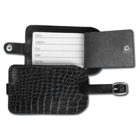 Crocodile Embossed Leather Luggage Tag