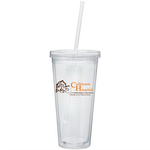 Double wall plastic cup with straw, 20 oz