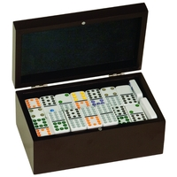"4.75"" x 8"" - Wood Game - Dominoes Set - Laser Engraved"