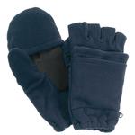 Navy Blue Fleece Fingerless Gloves w/ Mitten Flap