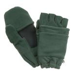 Hunter Green Fleece Fingerless Gloves with Flap