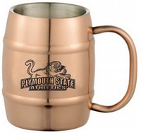 Copper coated stainless steel beer barrel mug