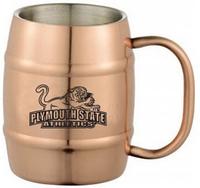 Copper coated stainless steel beer barrel mug