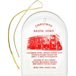 """Arch Beveled Glass Ornament 3-3/4"""" Screen Printed"""