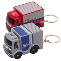 Miniature plastic truck toy LED keychain