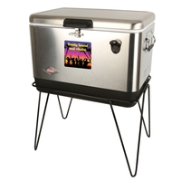 54 Qt Steel Belted Party Clr wStand & Bottle Opnr-Stainless
