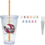Carnival Cup - Color Straw, Clear Lid