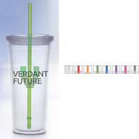 Carnival Cup with Color Straw, Clear Lid
