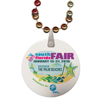 Round Rainbow Mardi Gras Beads with Imprint on Disk