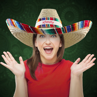Giant Natural Straw Sombrero with Serape Trim