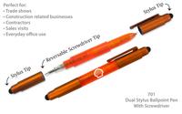 Dual Stylus Ballpoint Pen With Screwdriver Tips - Orange