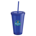 16 oz. Double Wall Drink Tumbler with Lid and Straw