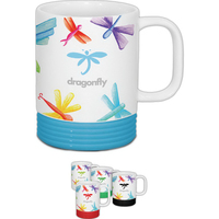 13 oz. White With Color Accents Ridge Mug