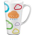 16 oz White Tall Ceramic Latte Mug