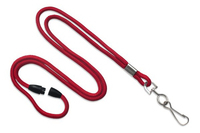 Red Blank Round Lanyard with Swivel J-Hook